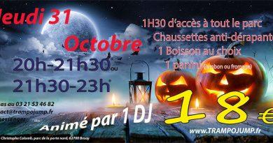 Soirée Halloween jeudi 31 octobre à Trampo Jump Bruay-la-Buissière
