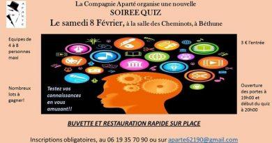 Soirée quiz de la Compagnie Aparté samedi 8 février salle des Cheminots à Béthune