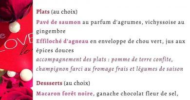 Le restaurant Un chef en cuisine présente son menu de la Saint-Valentin